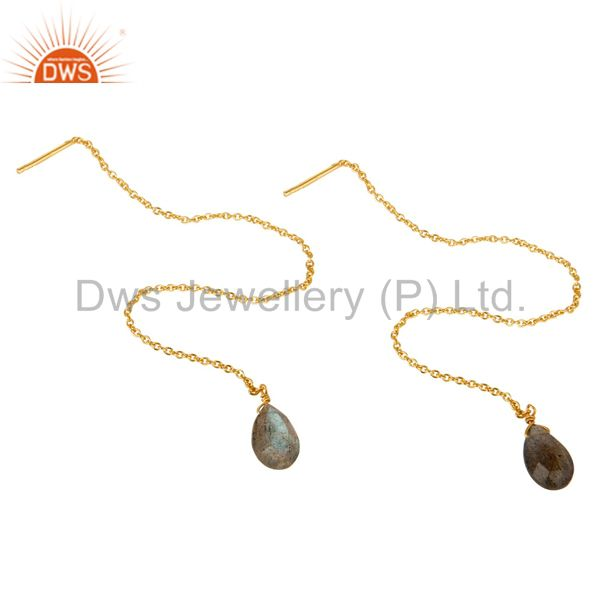 Exporter Labrodorite Long Chain Thread Earring Gold  Plated  Sterling Silver Jewelry