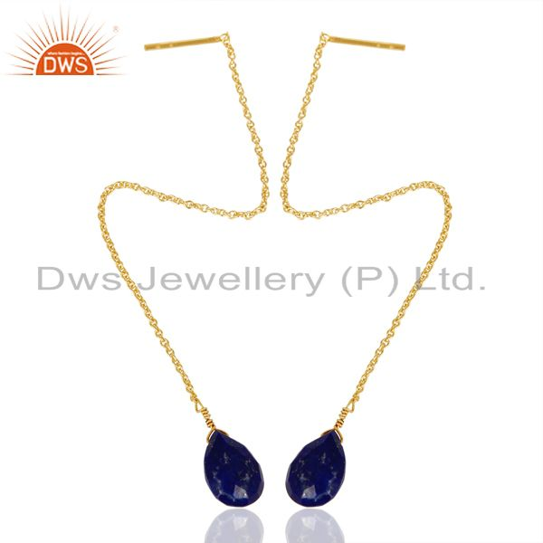 Exporter Lapis Long Chain Thread Earring Gold  Plated  Sterling Silver Jewelry