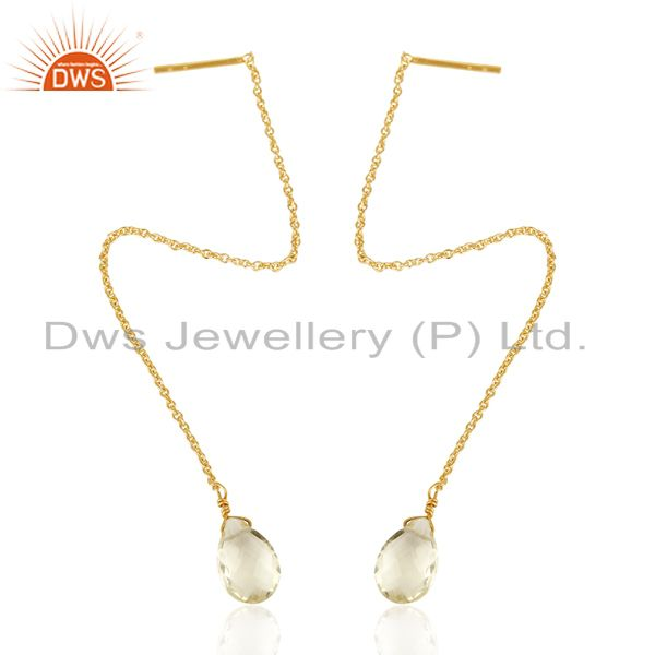 Exporter Lemon Topaz Long Chain Thread Earring Gold  Plated  Sterling Silver Jewelry