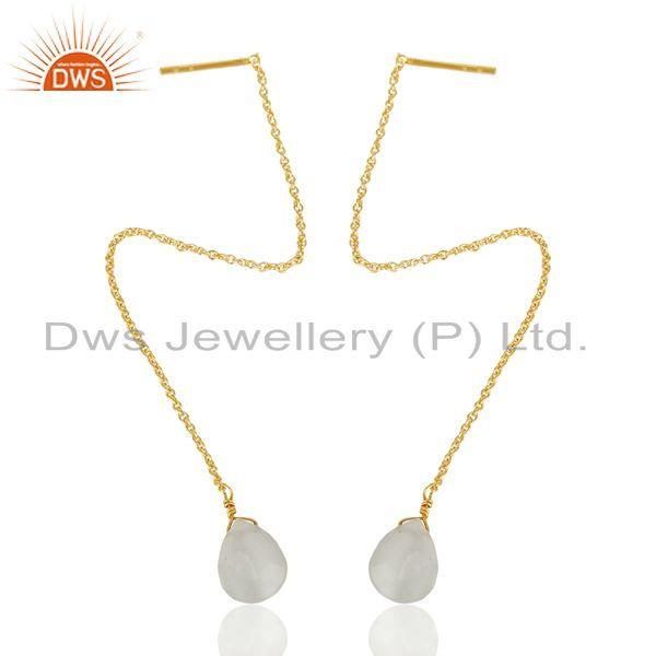 Wholesale White Moonstone Long Chain Thread Earring Gold Plated Sterling Silver Jewelry