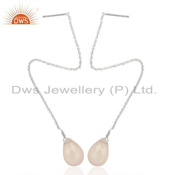 Exporter Rose Chalcedony Dangle Sui Dhaga Pattern White Rhodium Wholesale Silver Earring