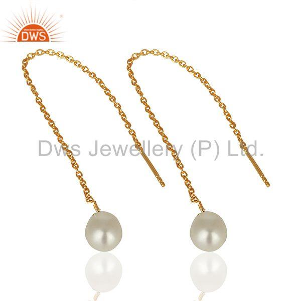 Exporter 925 Sterling Silver Gold Plated Pearl Chain Earrings Manufacturer
