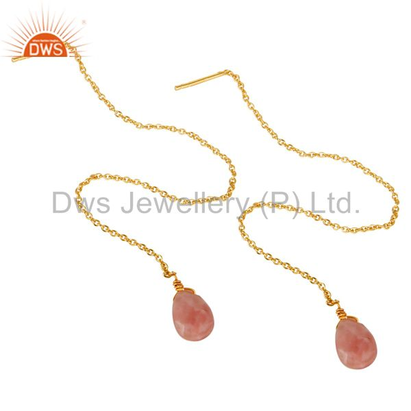 Exporter Pink Opal Long Chain Thread Earring Gold  Plated  Sterling Silver Jewelry