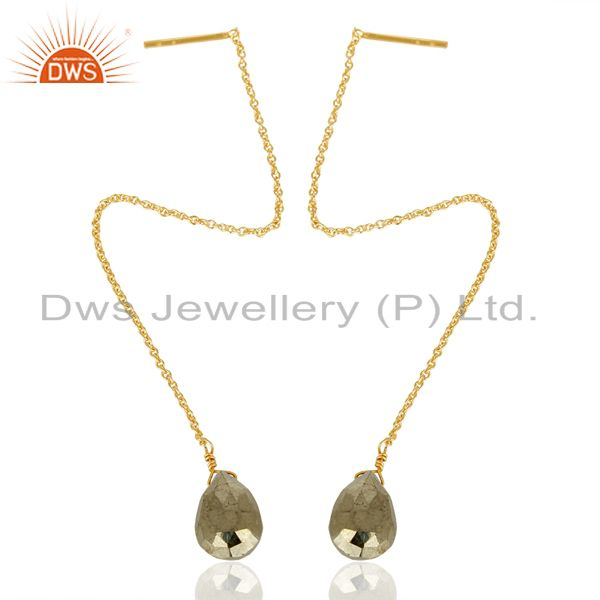Exporter Pyrite Long Dangle Crossover 14K Gold Plated 92.5 Sterling Silver Earring