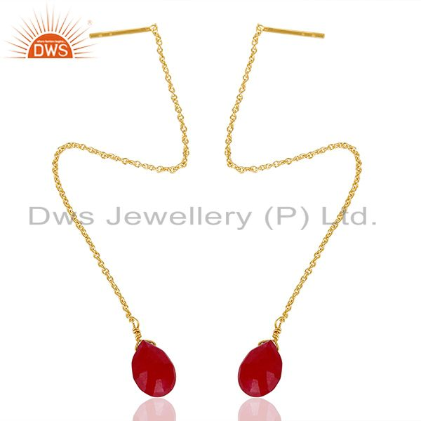 Exporter Red Ruby Gemstone 925 Silver Gold Plated Chain Earrings Manufacturer