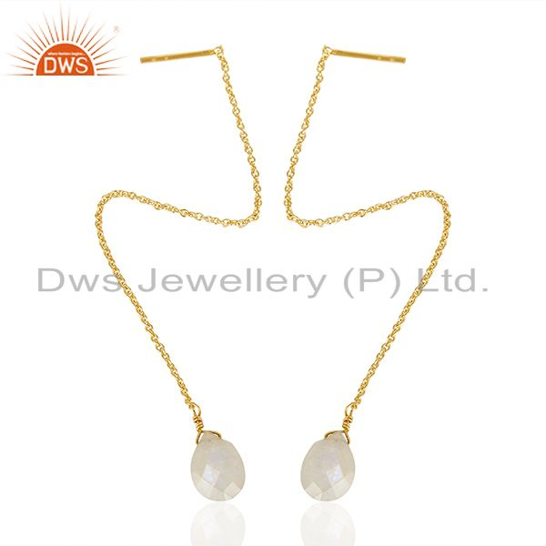 Exporter Rainbow Moonstone 925 Silver Gold Plated Chain Earrings Suppliers