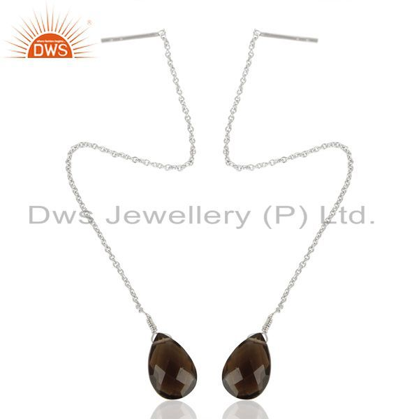 Exporter Smoky Dangle Sui Dhaga Pattern White Rhodium Plated Wholesale Silver Earring