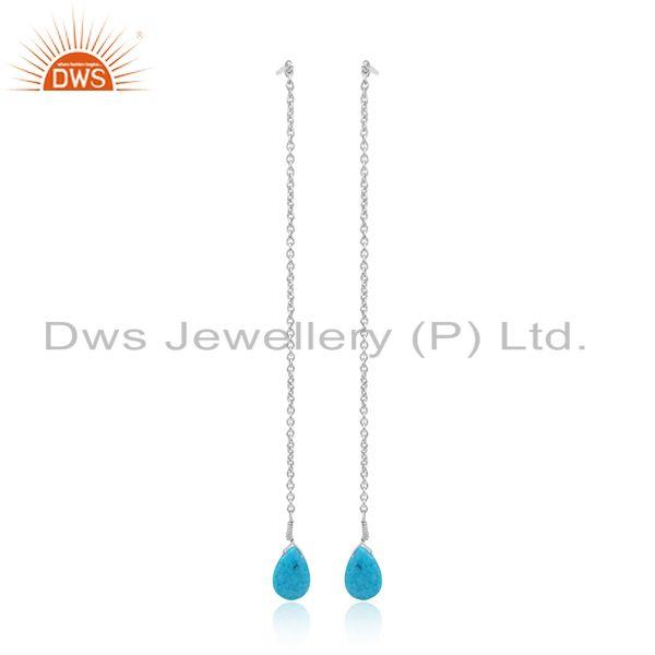 Natural turquoise gemstone 925 sterling fine silver chain earrings