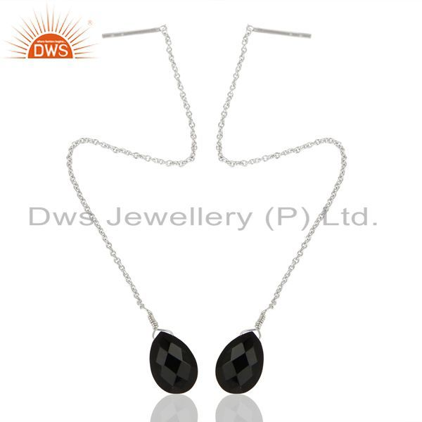Exporter BlackOnyx Dangle Sui Dhaga Pattern White Rhodium Wholesale Silver Earring