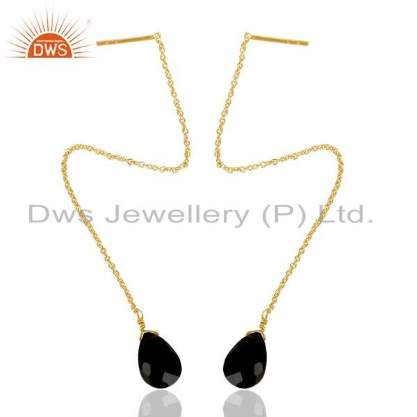 Exporter Black Onyx Threaded Earring 14K Gold Plated 92.5 Sterling Silver Earring