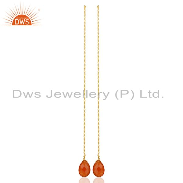 Exporter Natural Red Onyx Gemstone Earrings Gold Plated Chain Earrings Jewelry