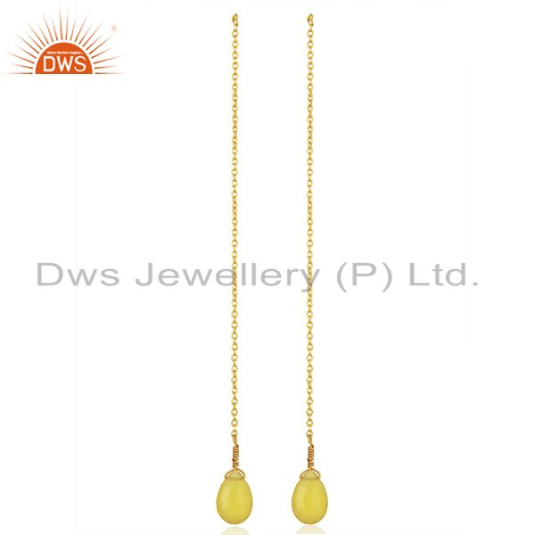 Exporter Yellow Chalcedony Gemstone Gold Plated Silver Chain Pendant Supplier