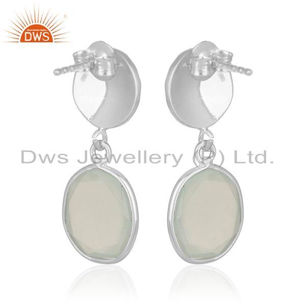 Exporter Indian Handmade 92.5 Silver Chalcedony Gemstone Drop Earrings Manufacturer india