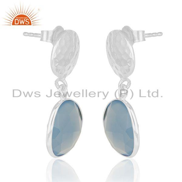 Exporter Handmade 925 Sterling Silver Blue Chalcedony Gemstone Earring Wholesale India