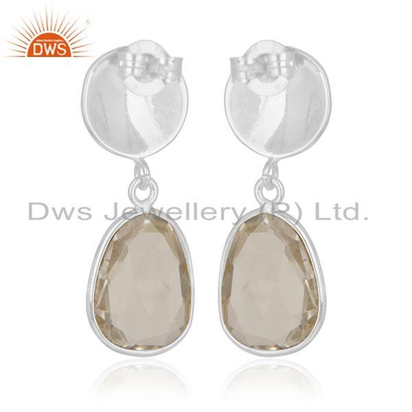 Exporter Crystal Quartz Sterling Silver Simple Earring Jewelry Manufacturer for Designers