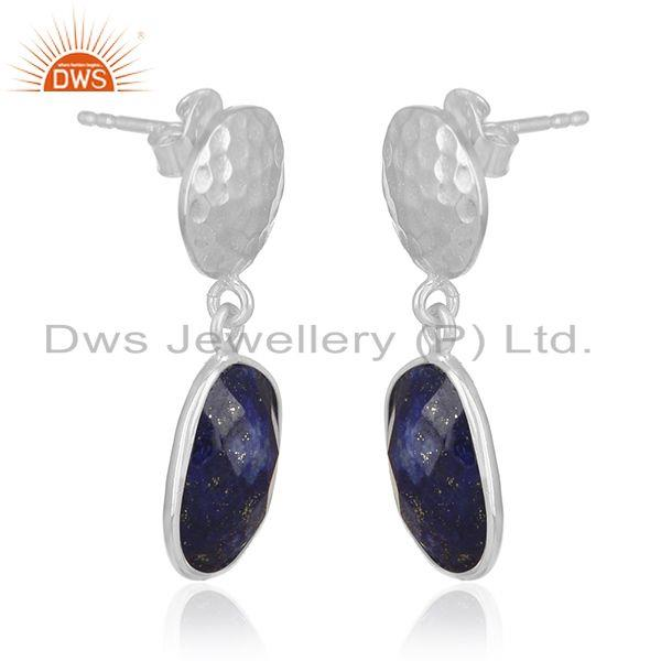 Exporter Lapis Lazuli Gemstone Silver Earrings Custom Jewelry Manufacturer for Designers