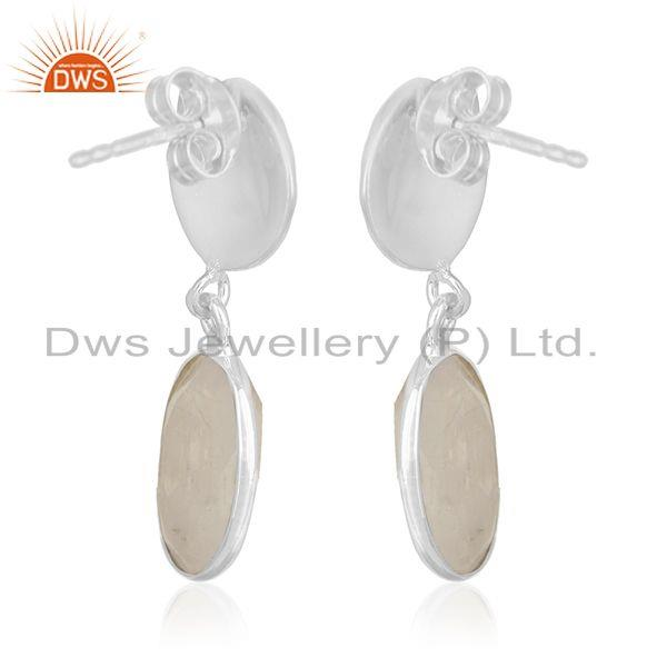 Exporter Rainbow Moonstone Silver Earrings Jewelry Manufacturer for Designers from India