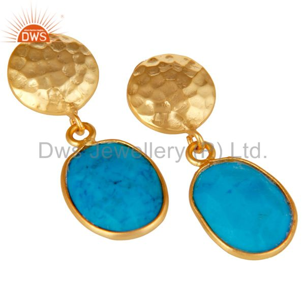 Exporter Yellow Gold Plated Sterling Silver Turquoise Cultured Bezel Set Dangle Earrings