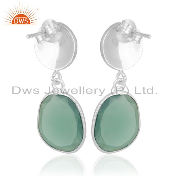 Exporter Green Onyx Gemstone Silver Earrings Private Label Jewelry Manufacturer India