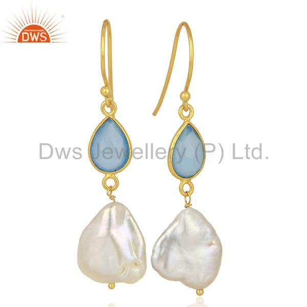 Exporter 22K Yellow Gold Plated Sterling Silver Blue Chalcedony And Pearl Drop Earrings