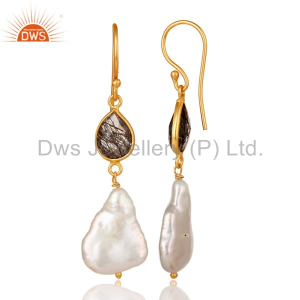 Exporter 22K Yellow Gold Plated Sterling Silver Black Rutile And Pearl Drop Earrings