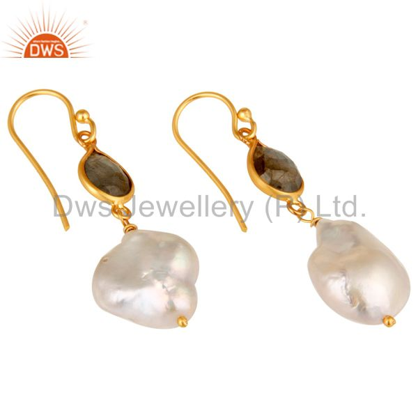 Exporter 22K Yellow Gold Plated Sterling Silver Labradorite And Pearl Drop Earrings