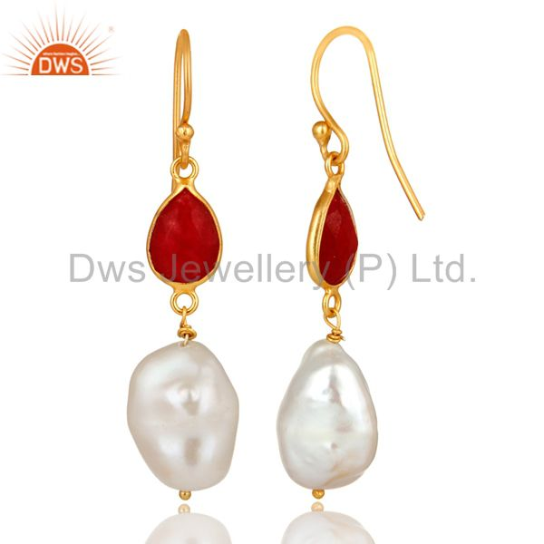 Exporter 18K Yellow Gold Plated Sterling Silver Red Aventurine And Pearl Dangle Earrings