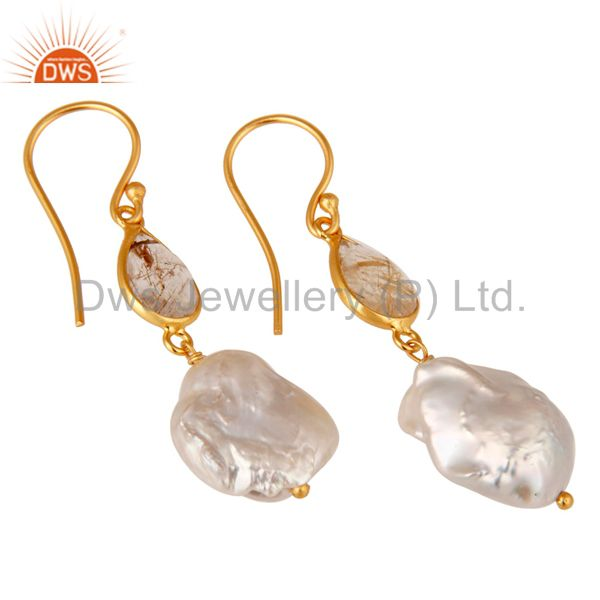 Exporter 22K Yellow Gold Plated Sterling Silver Yellow Rutile And Pearl Drop Earrings