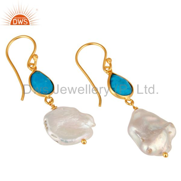 Exporter Turquoise and Pearl 22K Yellow Gold Plated Sterling Silver Drop Earrings