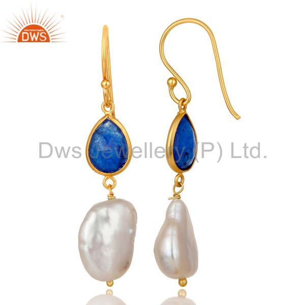 Exporter 18K Yellow Gold Plated Sterling Silver Blue Aventurine And Pearl Dangle Earrings