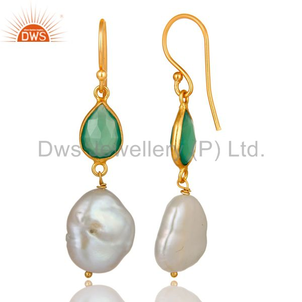 Exporter 18K Yellow Gold Plated Sterling Silver Green Onyx And Pearl Dangle Earring