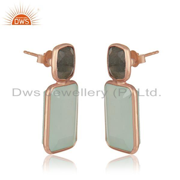 Exporter Rose Gold Plated Silver Labradorite Aqua Chalcedony Earring Jewelry