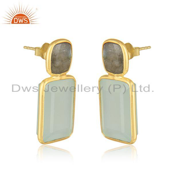 Exporter Labradorite Aqua Chalcedony Gemstone Earring Jewelry Supplier