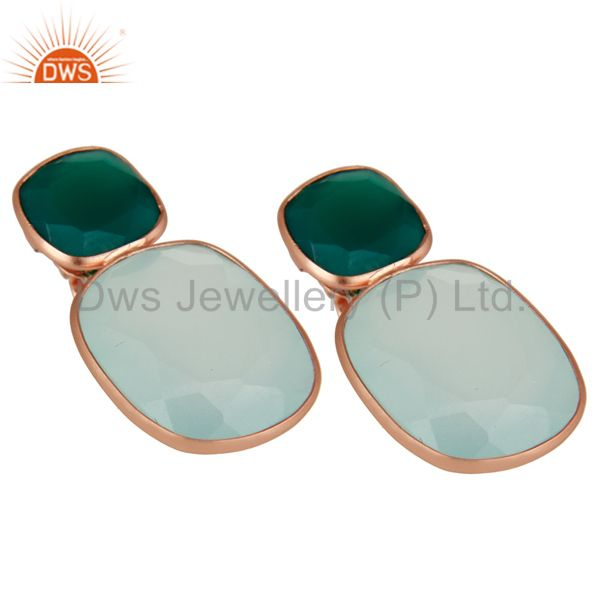 Exporter 18K Rose Gold Plated Sterling Silver Green Onyx And Chalcedony Dangle Earrings