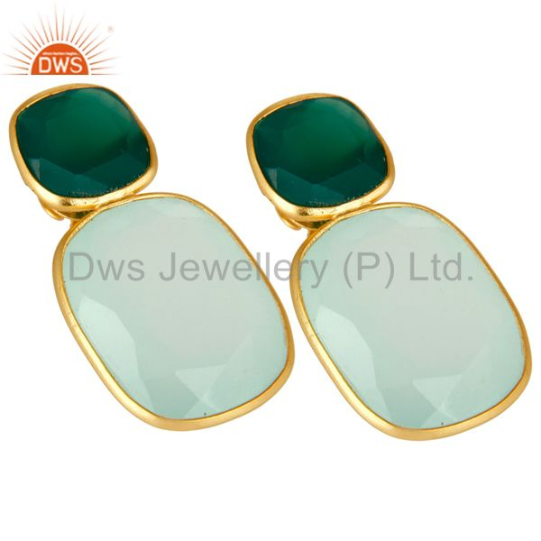 Exporter 18K Yellow Gold Plated Sterling Silver Green Onyx And Chalcedony Dangle Earrings