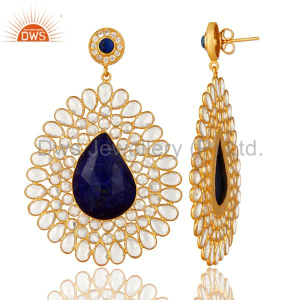 Exporter 14K Yellow Gold Plated Sterling Silver Lapis Lazuli And CZ Dangle Earrings