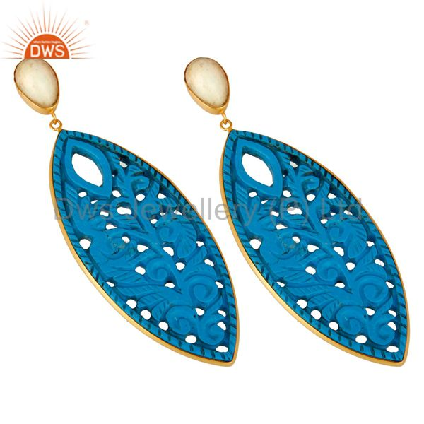 Exporter 18K Yellow Gold Plated Sterling Silver Carved Turquoise And Opal Dangle Earrings