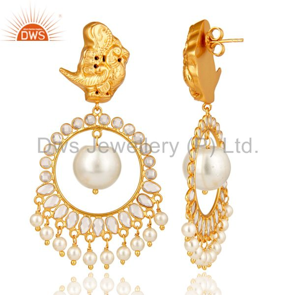 Exporter White Pearl and White CZ Sterling Silver 18K Gold Plated Chandelier Earring