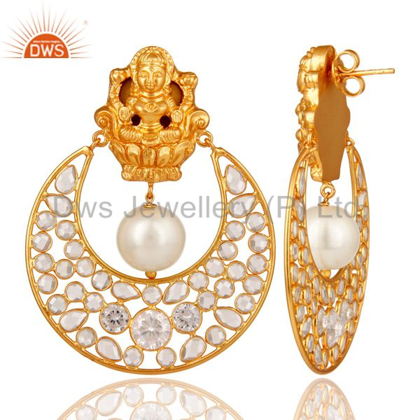 Exporter 18K Gold Plated Pearl and White CZ Sterling Silver Chand Bali Stud Earring