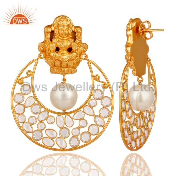 Exporter 18K Gold Plated Pearl and White CZ Sterling Silver Chand Bali Studs Earrings