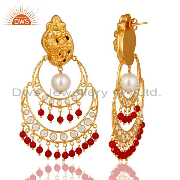 Exporter White Pearl, Coral and CZ 18K Gold Plated Sterling Silver Temple Earring Stud