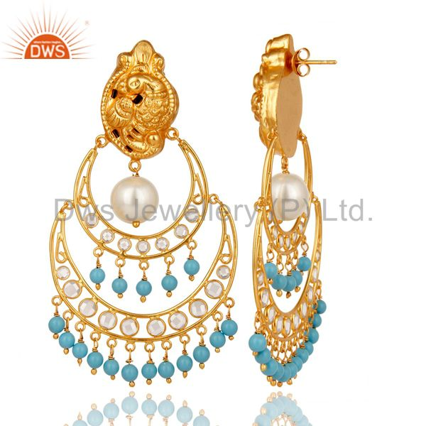 Exporter White Pearl Turquoise and CZ 18K Gold Plated Sterling Silver Temple Earring Stud