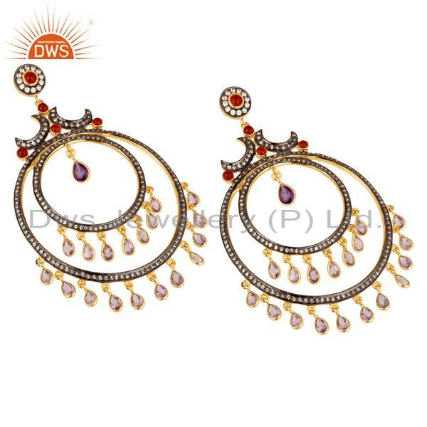 Exporter Amethyst and Red Onyx 18K Gold Plated Sterling Silver Traditional Stud Earring