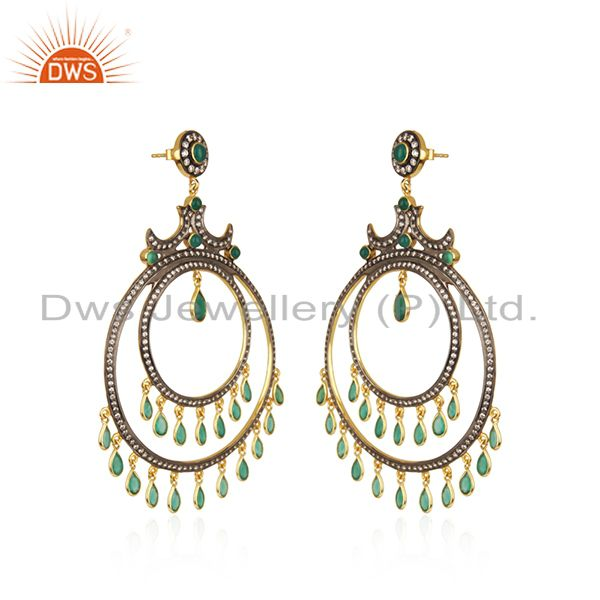 Exporter Green Onyx and White CZ 18K Gold Plated Sterling Silver Traditional Stud Earring