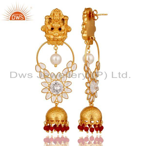 Exporter 18K Gold Plated Sterling Silver Coral, Pearl and CZ Earring Temple Jewelry