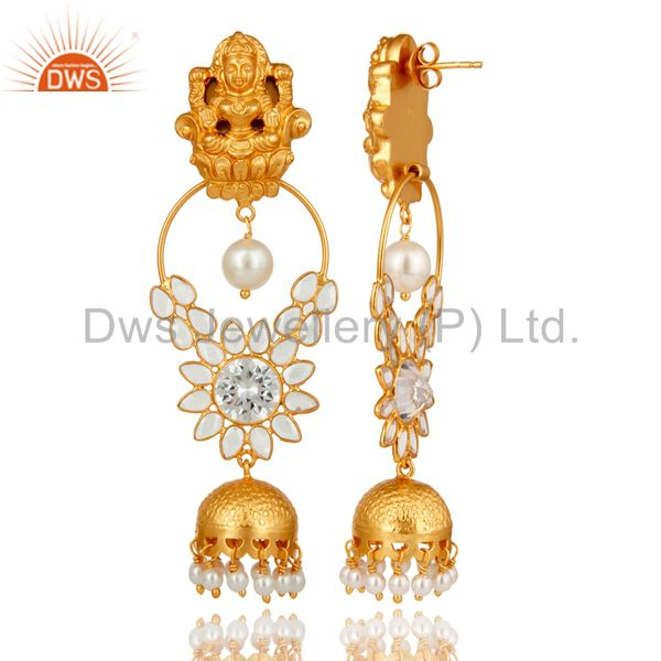 Exporter 18K Gold Plated Sterling Silver Pearl and CZ Earring Temple Jewelry
