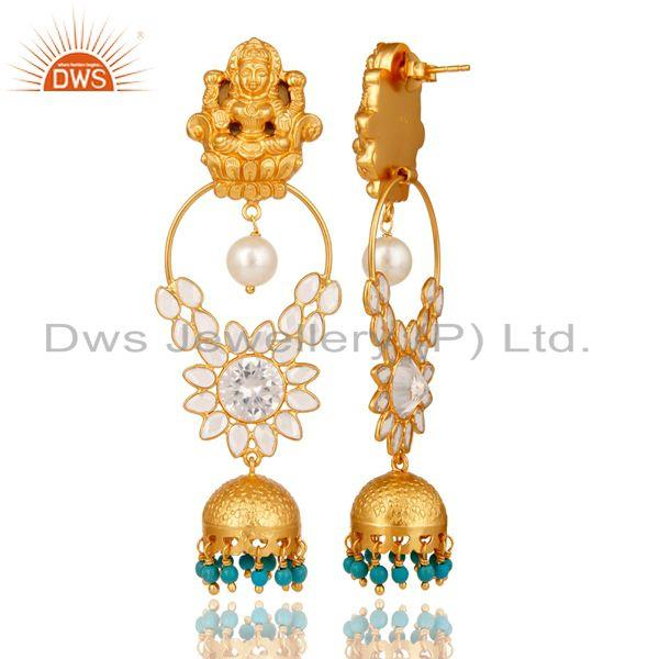 Exporter Turquoise Pearl and CZ 18K Gold Plated Sterling Silver Jhumki Temple Earring