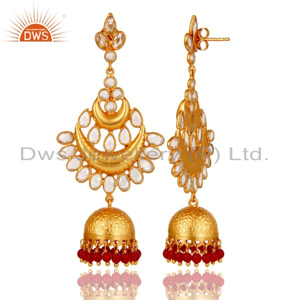 Exporter Coral and Zircon 18K Gold Plated Sterling Silver Jhumka Earring
