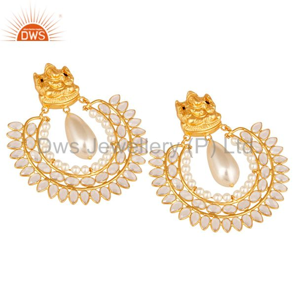 Exporter 18K Gold Plated Sterling Silver Jhumki with Pearl and CZ Temple Earring