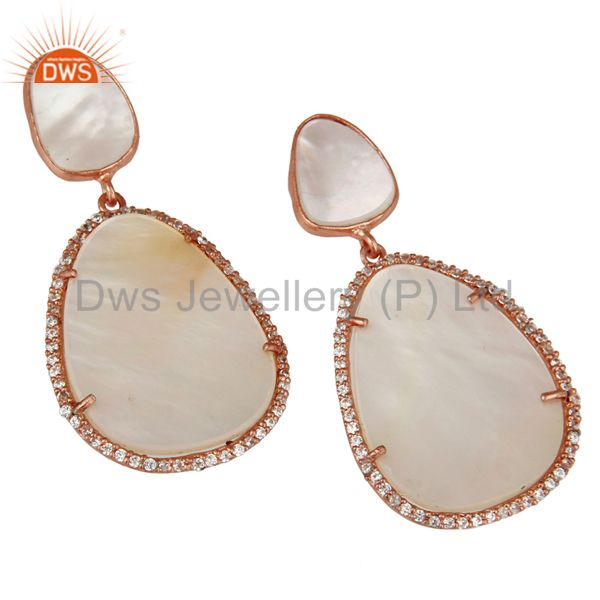 Exporter Mother of Pearl MOP Rose Gold Plated Sterling Silver Drop Dangle Earring